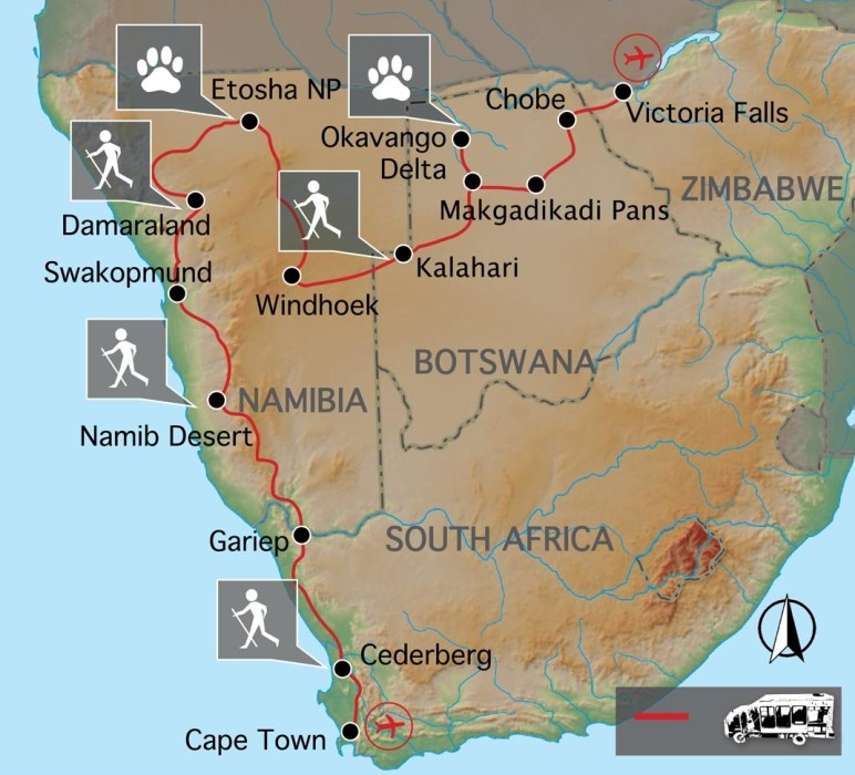 Grand Explorer: Kapstadt zu den Victoriafällen - Karte
