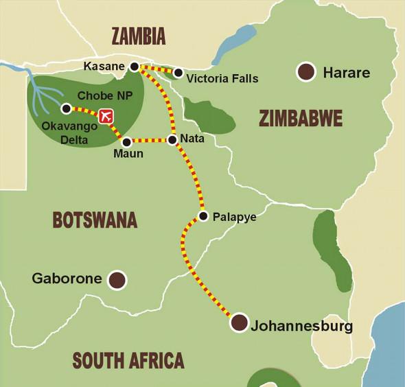 Okavango Delta & Chobe-Nationalpark - Karte