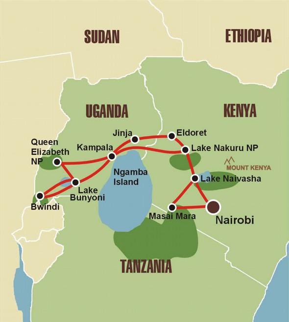 Masai Mara & Gorillas - Karte