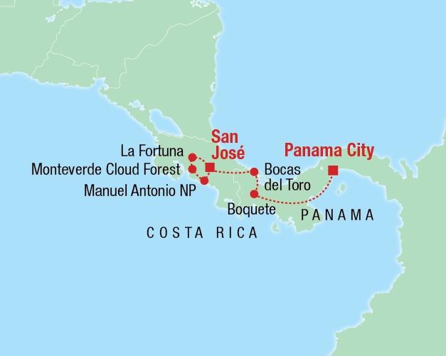 Von San José nach Panama City - Karte