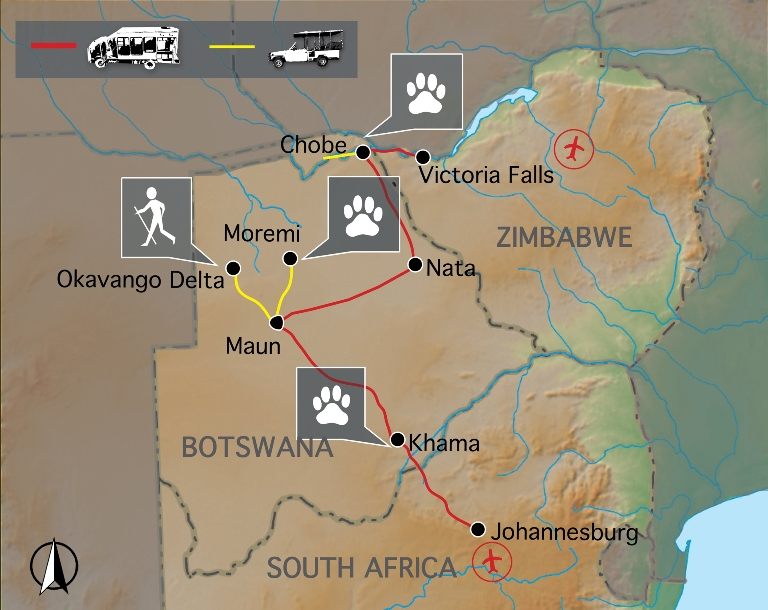 Botswana Wildside - Karte
