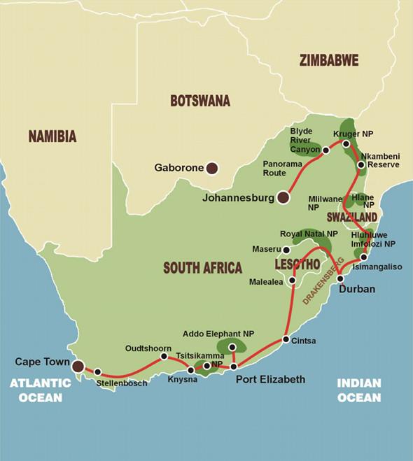 Abenteuer Südafrika - Karte