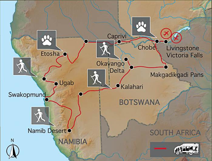 Southern Circle: Namibia & Botswana - Karte