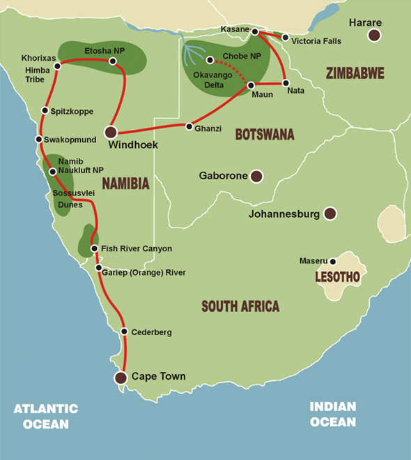 Von Kapstadt zu den Victoriafällen - Karte