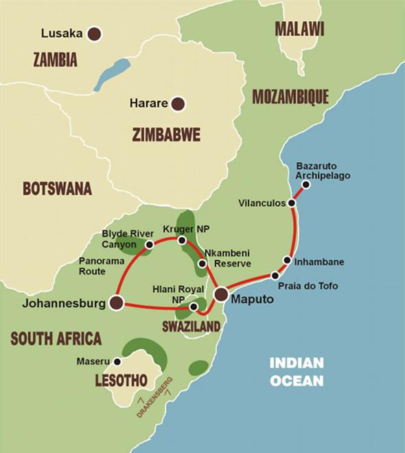Entdeckungsreise Mosambik - Karte