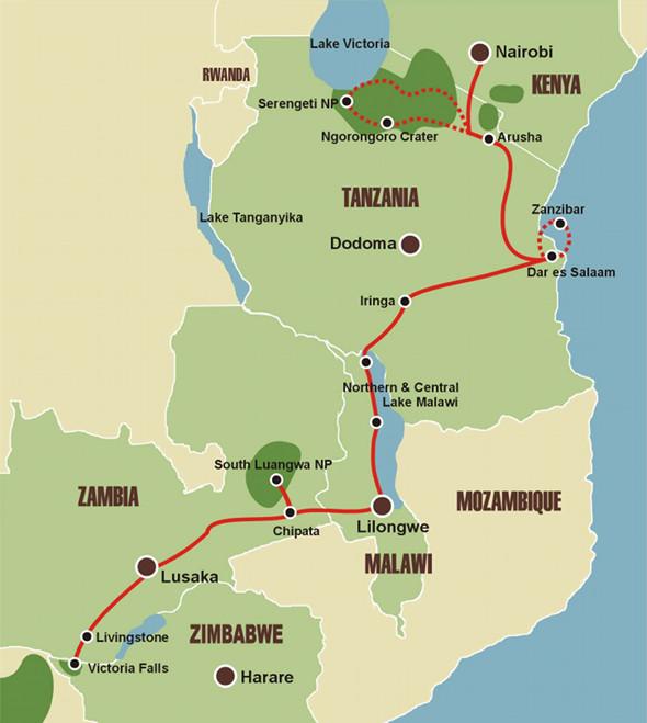 Abenteuer Ostafrika - Karte