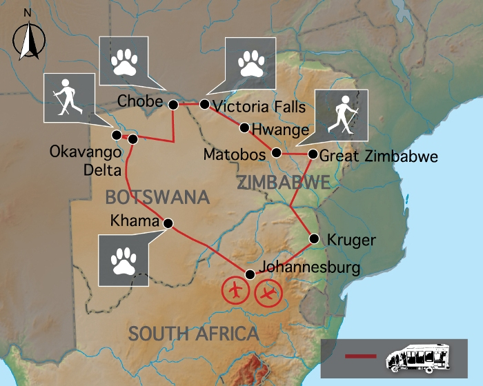 Fährtenleser Simbabwe & Botswana - Karte