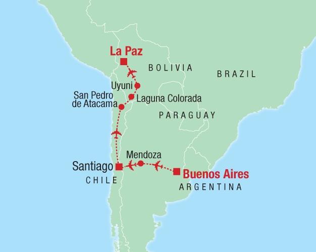 Von Buenos Aires über Santiago nach La Paz - Karte