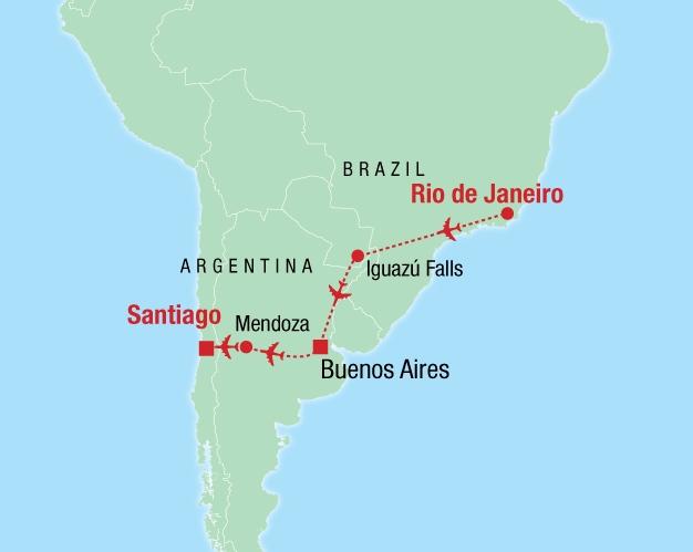 Rio De Janeiro Karte.South America Flyer Colibri Reisen