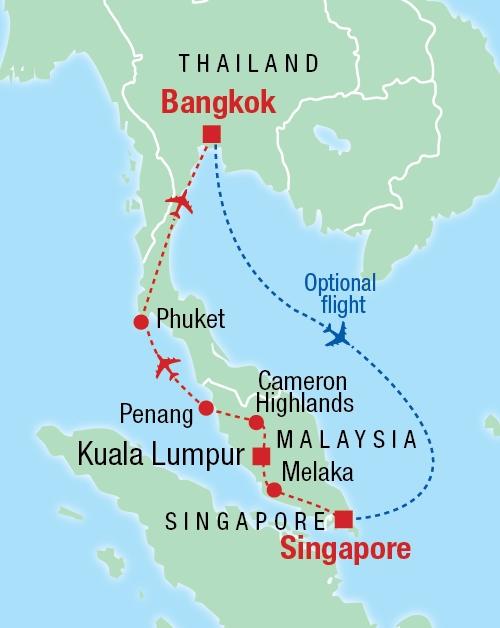 Von Singapur nach Bangkok - Karte